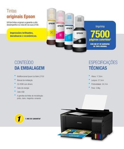 - Multifuncional Epson Tanque De Tinta Ecotank L3150 Bivolt Anúncio com variação