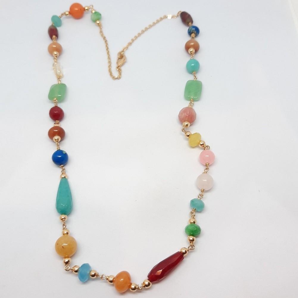 colar com pedras naturais colorido
