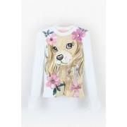 Blusa Canelada Cachorro Flores Pituchinhus