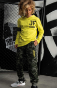 Conjunto Camiseta Meia Malha e Calça Jogger em Moletom sem Pelúcia Johnny Fox