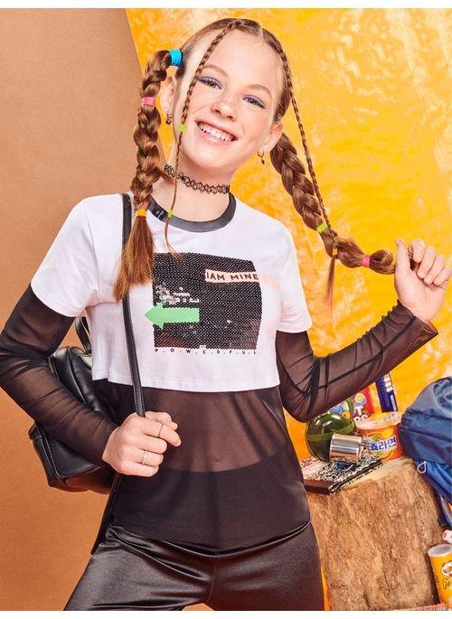 Blusa Teen Branca com Tule Preto Authoria