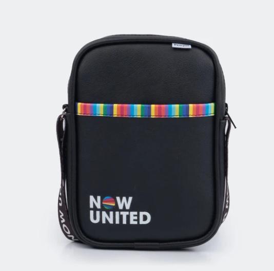 Bolsa Tiracolo Infantil Now United  com Alça Personalizada Preta Pampili