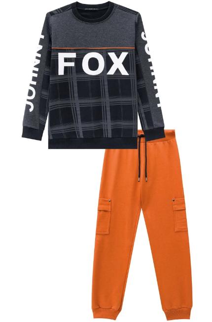 Conjunto de Blusão e Calça Jogger em Moletom com Pelúcia Johnny fox