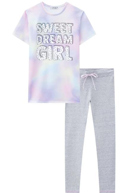 Conjunto de Pijama Camiseta Over Poli Light e Legging em Cotton Vic&vick