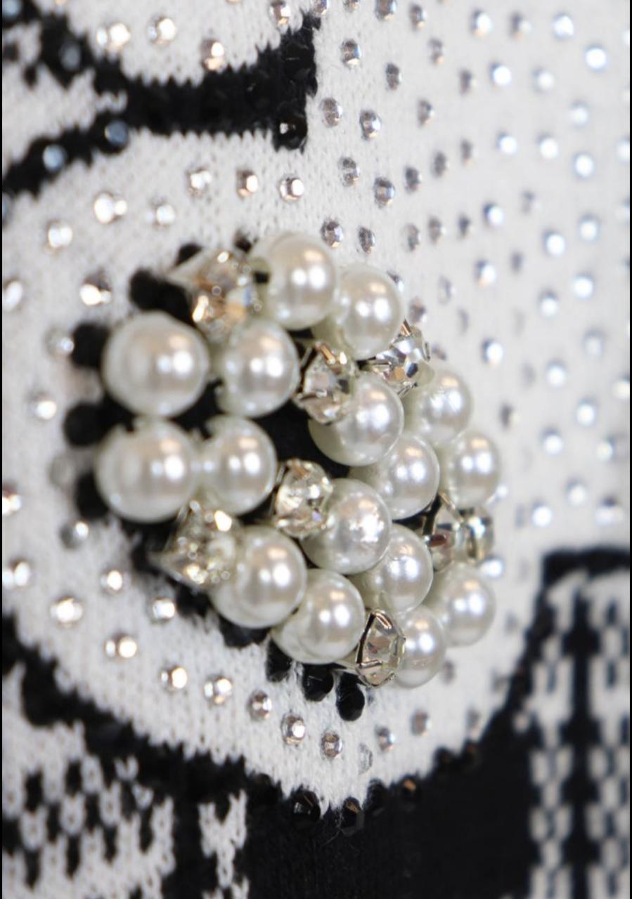 vestido tricot xadrez urso bordado pituchinhus