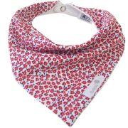 Babador bandana floral miúdo vermelho