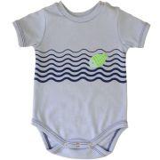 Body bebê menino peixinho  manga curta suedine azul