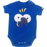 Body bebê unissex ararinha azul manga curta suedine azul