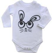 Body bebê unissex coelho divertido manga longa suedine branco