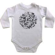 Body bebê unissex instrumentos manga longa suedine branco