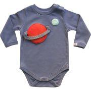 Body bebê unissex planetas manga longa suedine cinza azulado