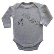 Body bebê unissex raposa e guaxinim manga longa suedine cinza mescla