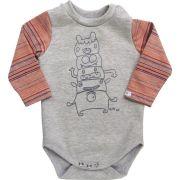 Body bebê unissex totem de monstro manga longa suedine cinza mescla