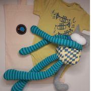 Kit para bebê body trompete e gato