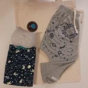 kit para bebê saruel sistema solar e naninha gato astronauta