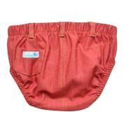 Tapa fralda bebê unissex com bolsinhos e passantes malha jeans vermelha