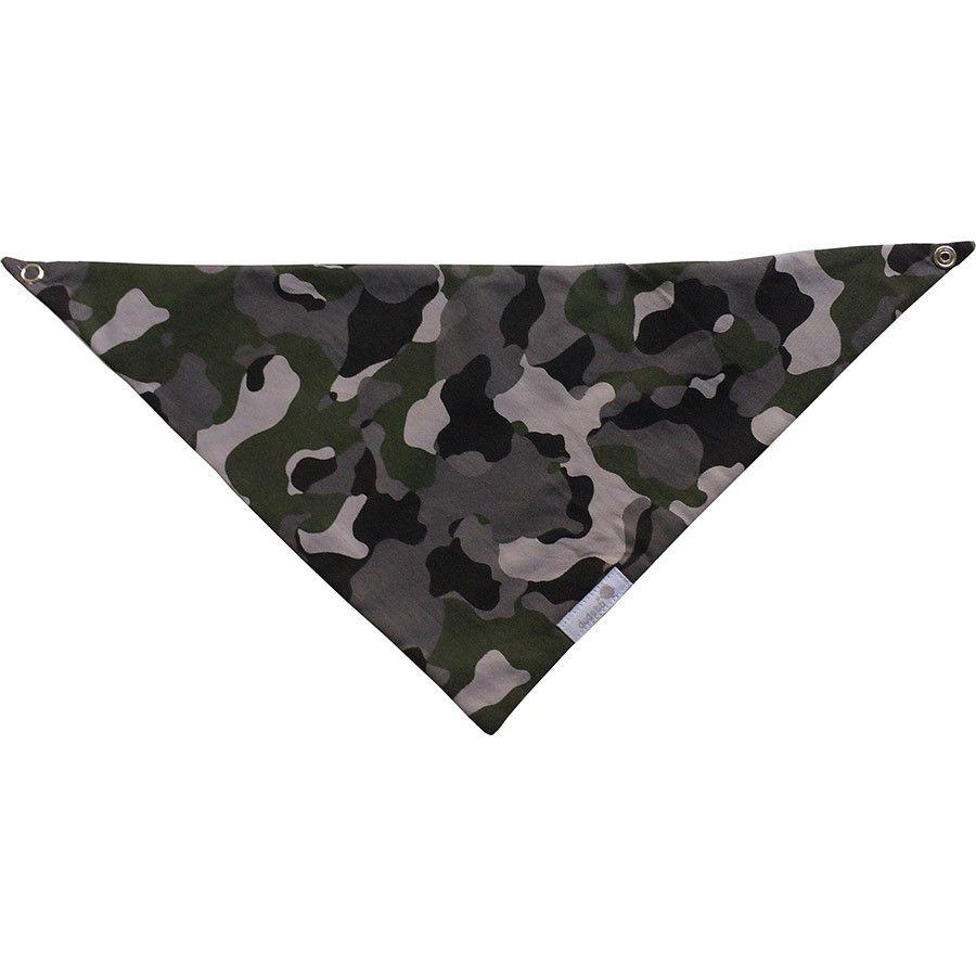 Babador bandana camuflado cinza e verde