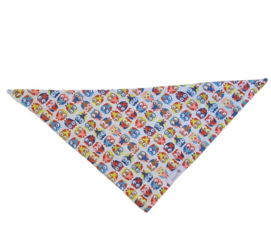 Babador bandana corujinha colorida