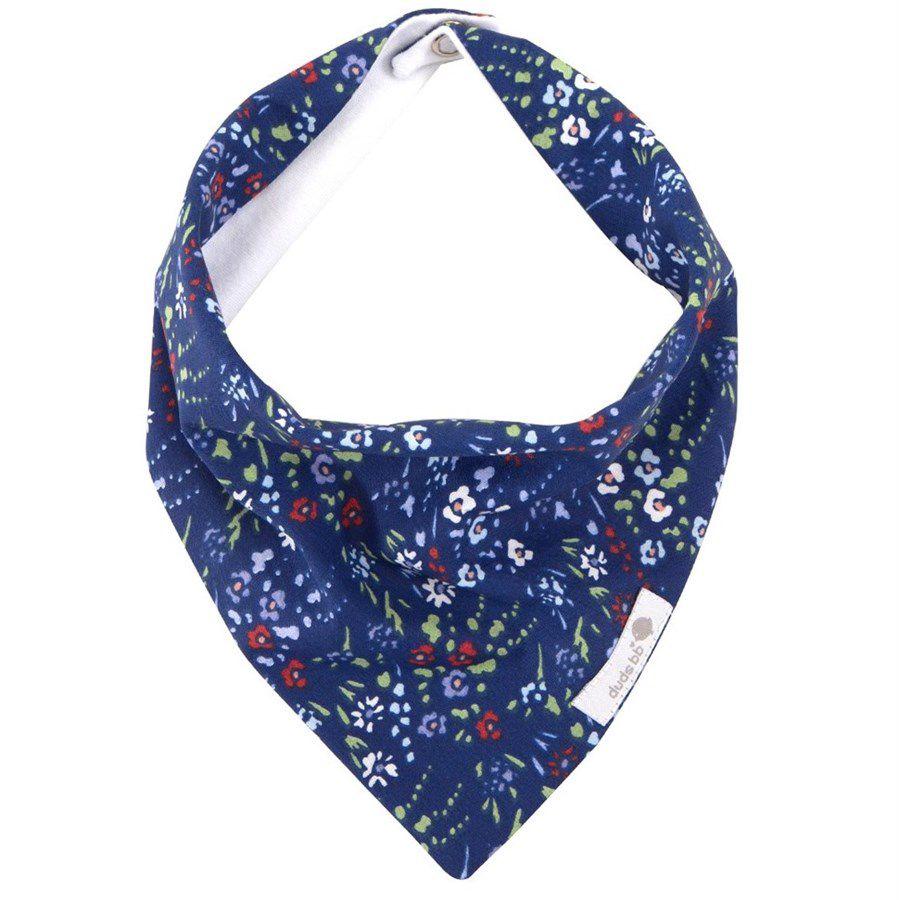 Babador bandana floral azul e branco