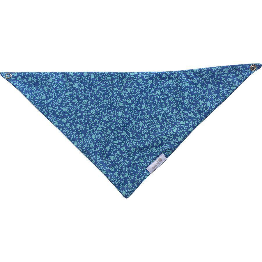 Babador bandana floral azul e turquesa
