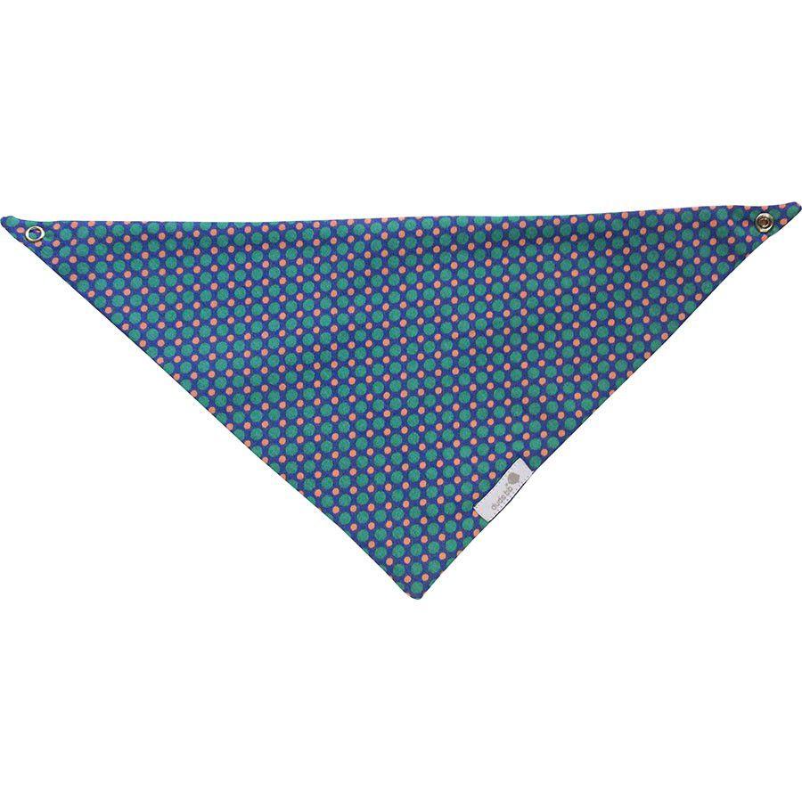 Babador bandana fundo azul bolas verdes