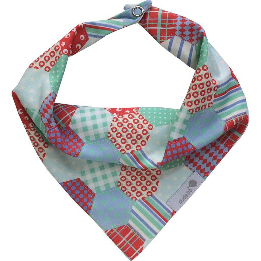Babador bandana patchwork vermelho e verde