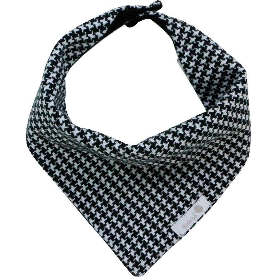 Babador bandana pied-de-poule preto e branco