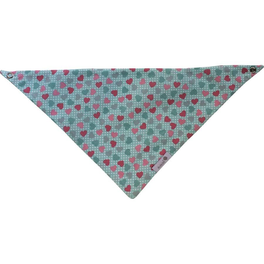 Babador bandana verde água com coração rosa