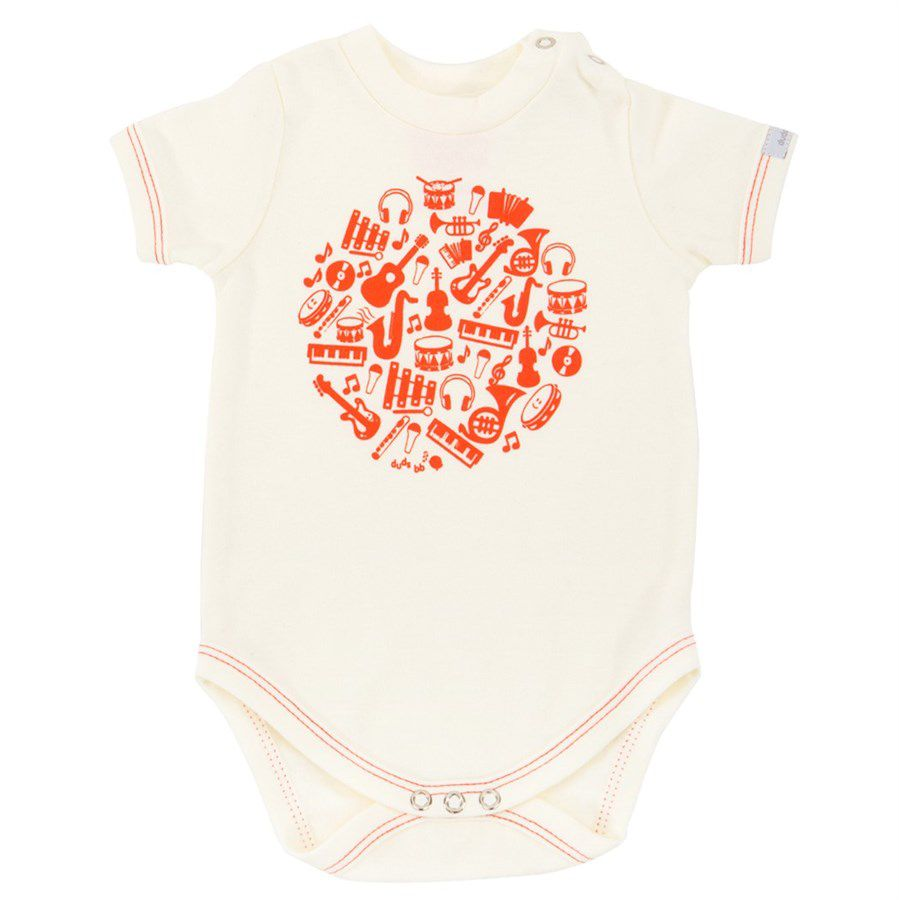 Body bebê instrumentos manga curta suedine off white