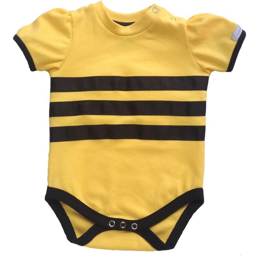 Body bebê menina abelhinha manga curta suedine amarelo