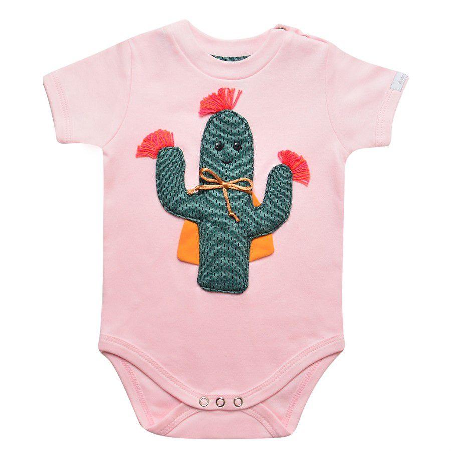 Body bebê menina cacto Vitória manga curta suedine rosa