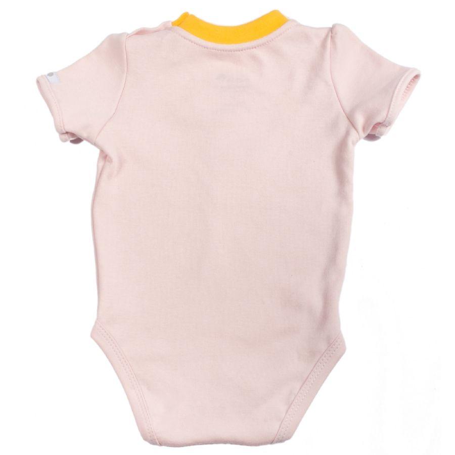 Body bebê menina flor de crochê manga curta suedine rosa claro