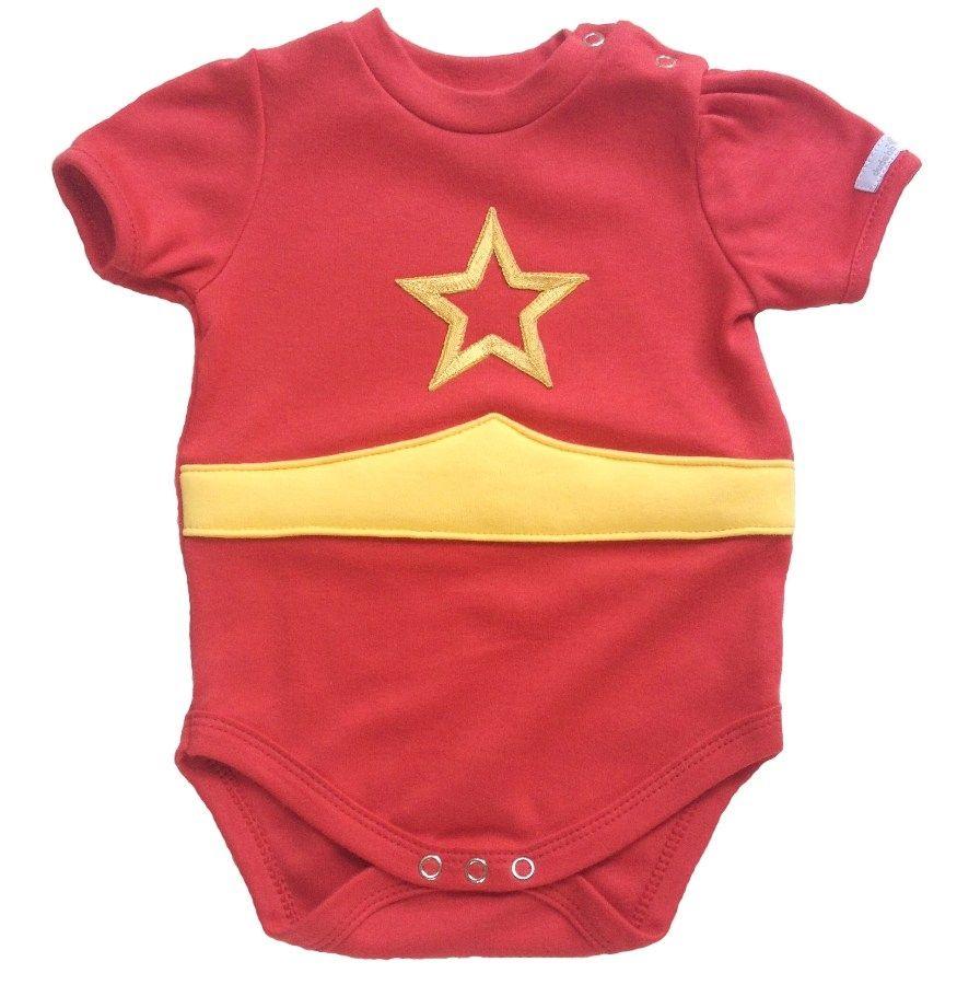 Body bebê menina  super heroina manga curta suedine vermelho