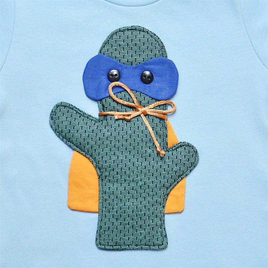 Body bebê menino cacto Guto manga curta suedine azul