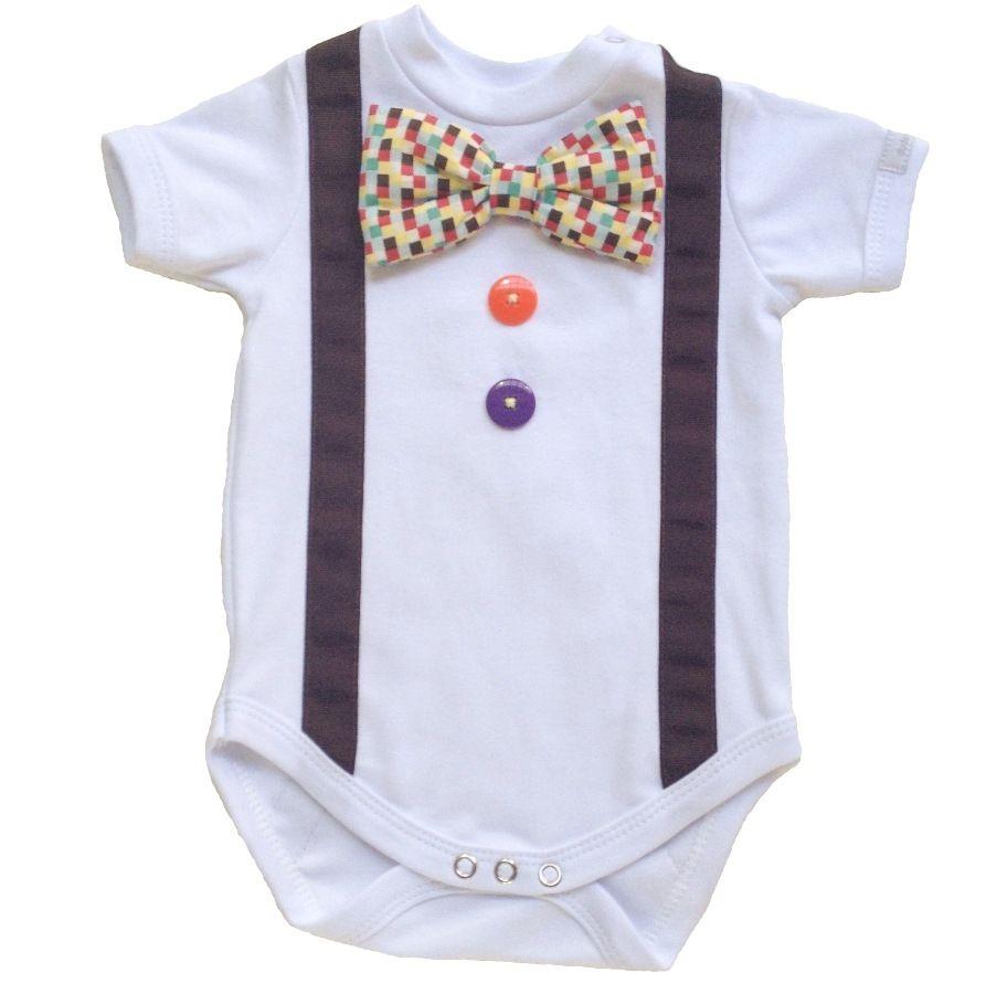 Body bebê  menino palhacinho manga curta suedine branco