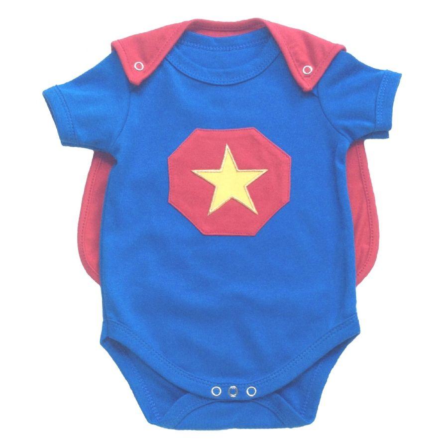Body bebê menino super heroi manga curta suedine azul