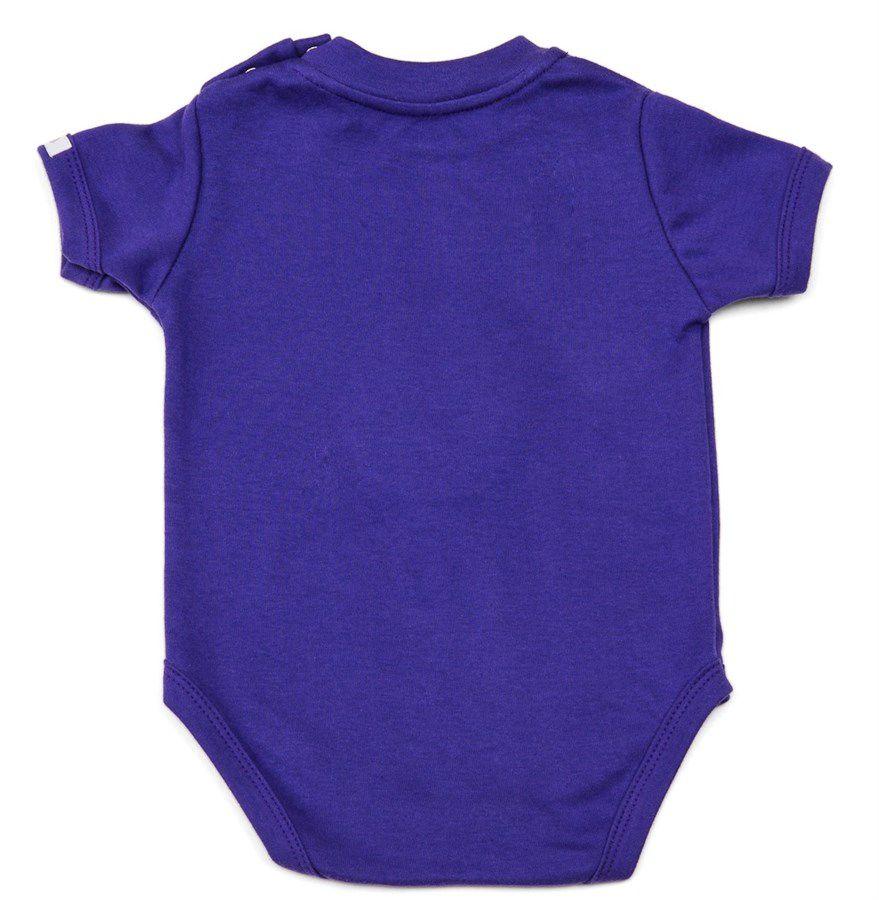 Body bebê unissex abacaxi com óculos de sol manga curta suedine roxo