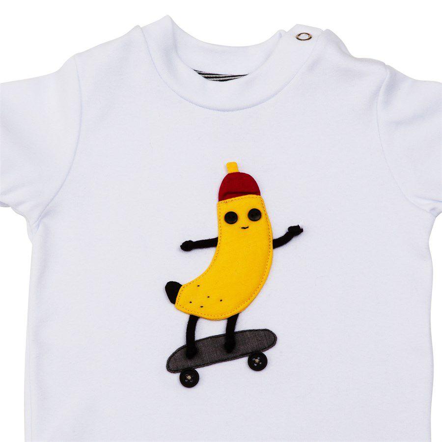 Body bebê unissex  banana skatista manga curta suedine branco