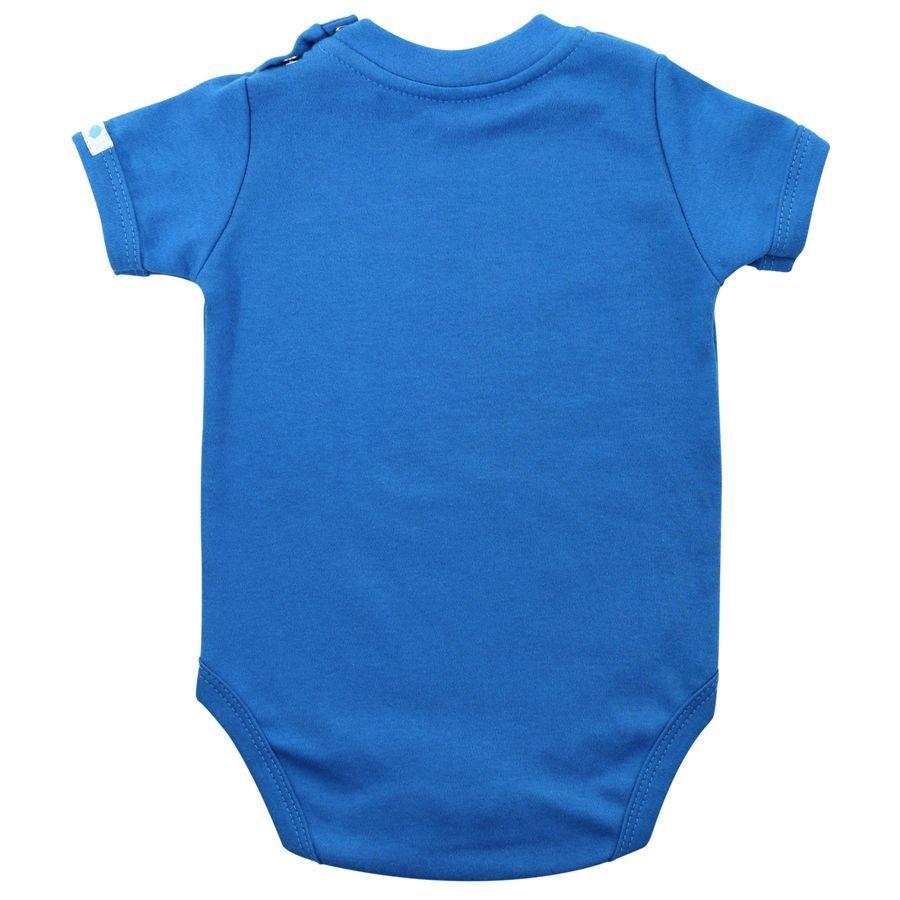 Body bebê unissex caça palavra manga curta suedine azul
