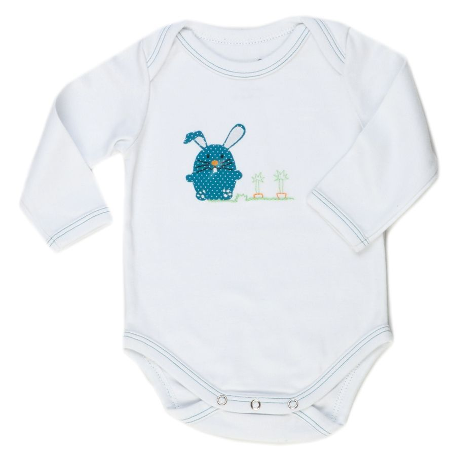 Body bebê unissex coelho manga longa suedine branco