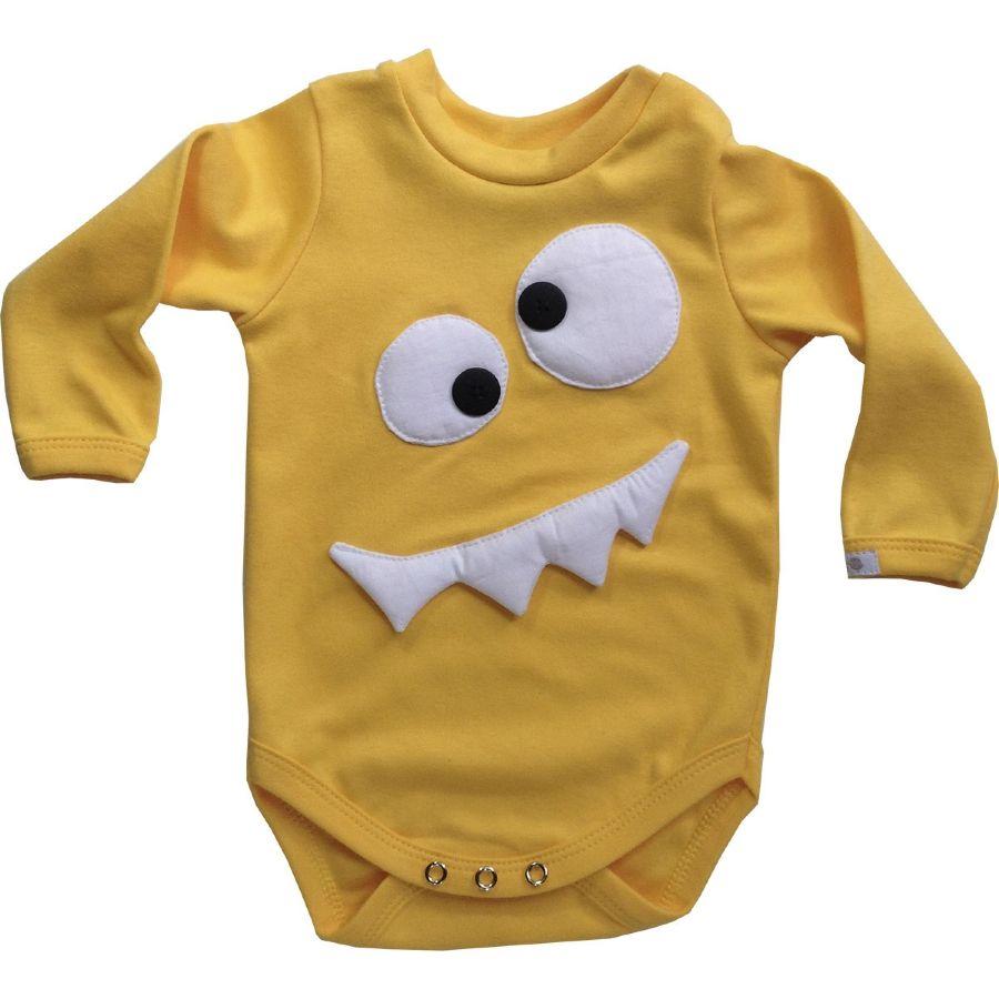 Body bebê unissex dentão manga longa suedine amarelo