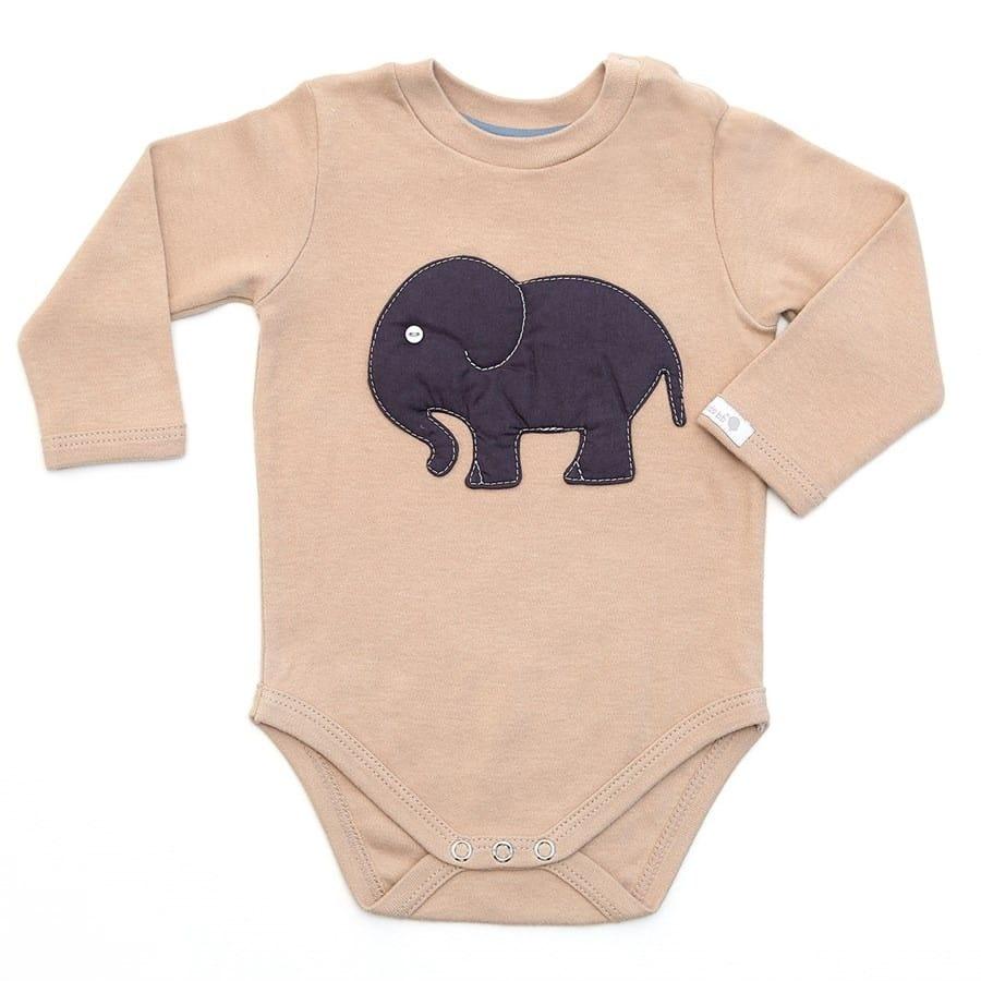 Body bebê unissex elefante manga longa suedine bege