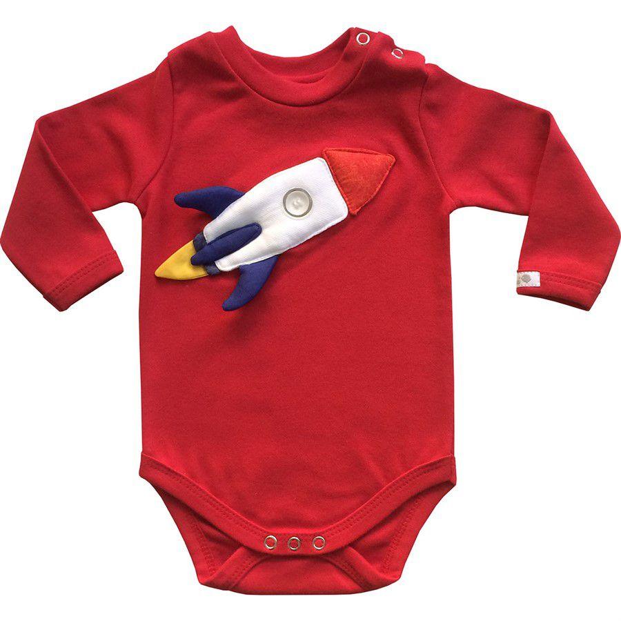 Body bebê unissex foguete manga longa  suedine vermelho