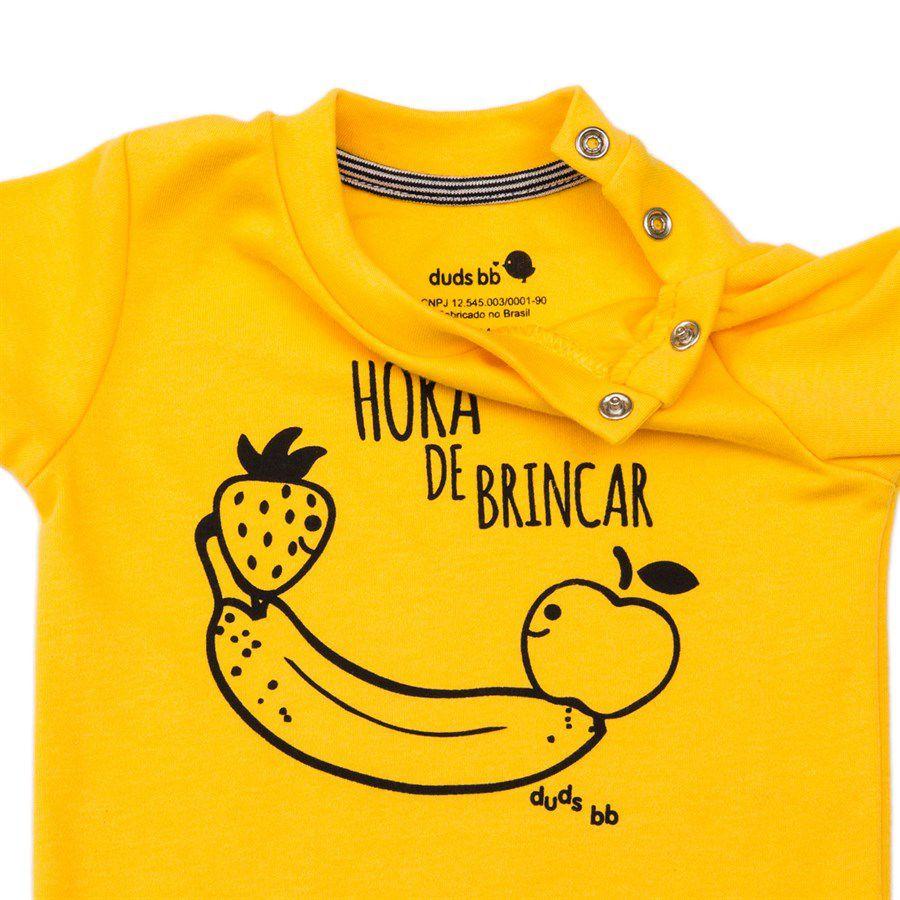 Body bebê unissex gangorra banana manga curta suedine amarelo