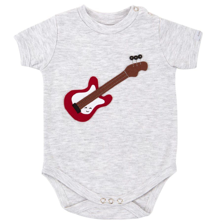 Body bebê unissex guitarra manga curta suedine mescla