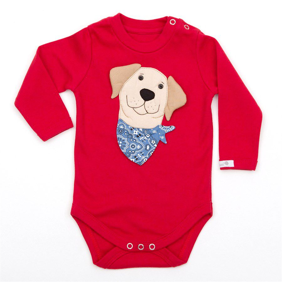 Body bebê unissex labrador  manga longa suedine vermelho