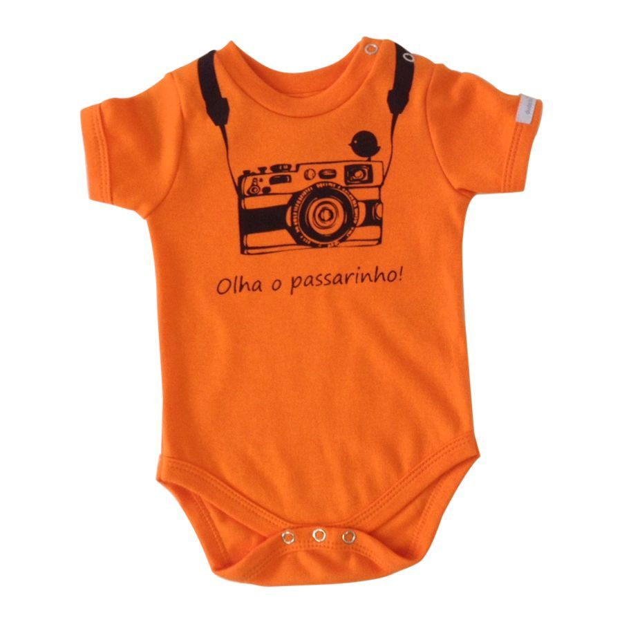 Body bebê unissex  olha o passarinho manga curta suedine laranja