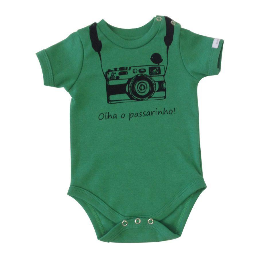 Body bebê unissex olha o passarinho manga curta suedine verde