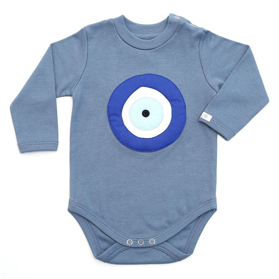 Body bebê unissex olho grego manga longa suedine cinza