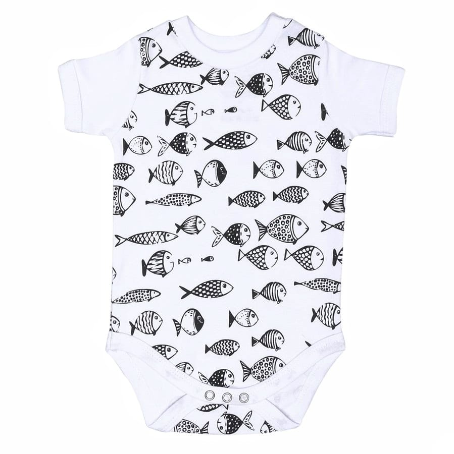 Body bebê unissex peixes manga curta suedine branco